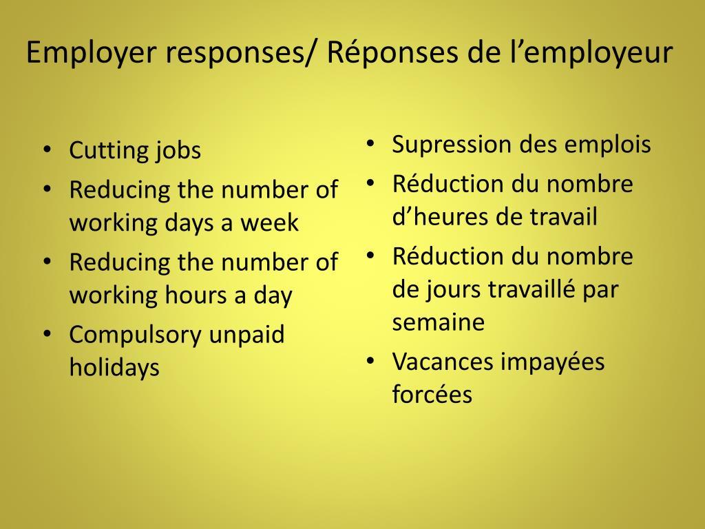 Employer responses/ Réponses de l'employeur