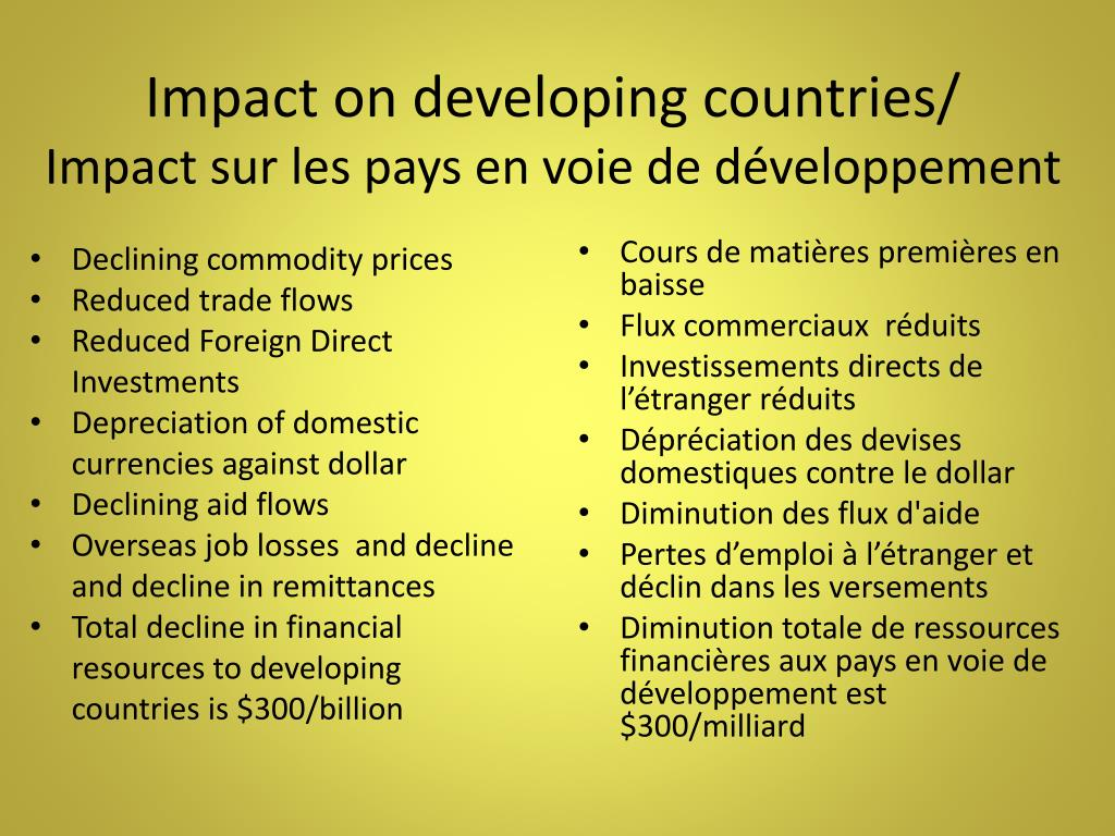 Impact on developing countries/