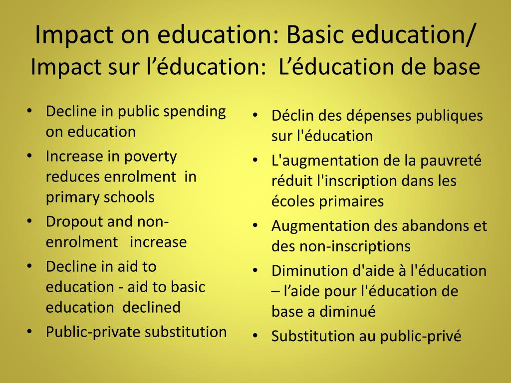 Impact on education: Basic education/