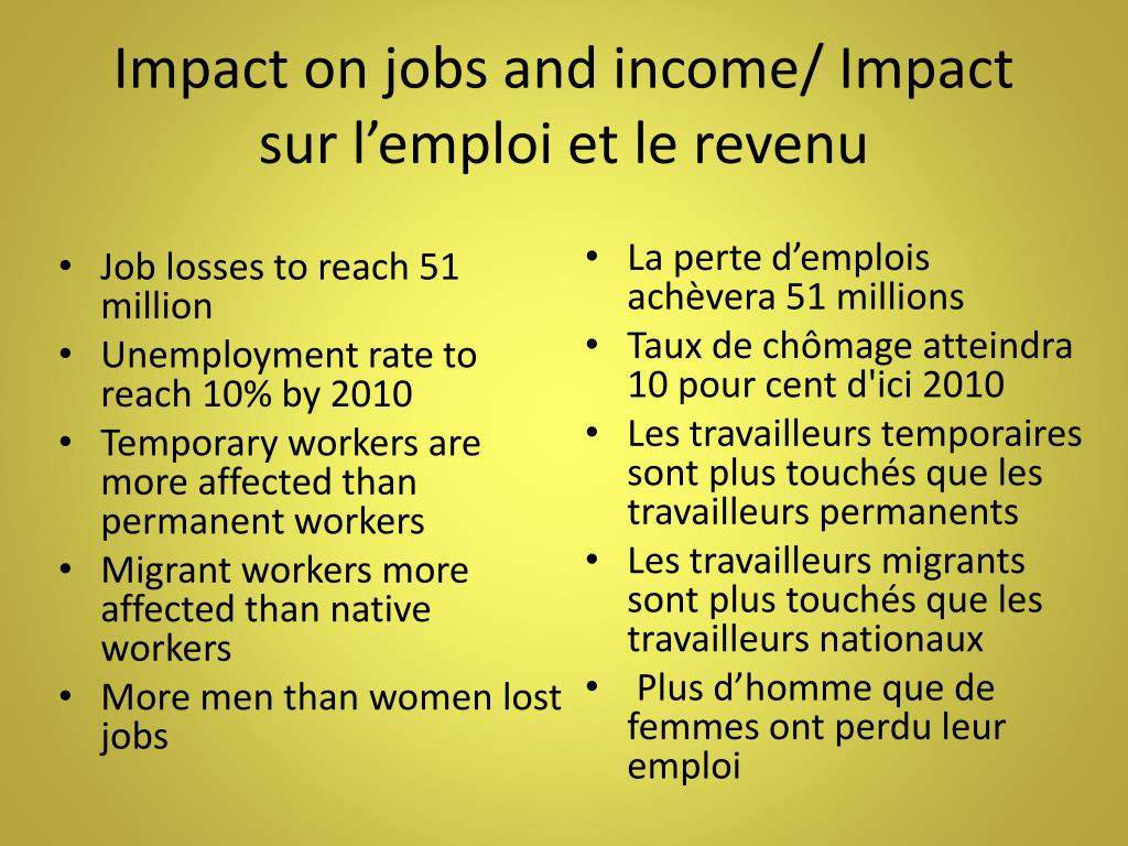 Impact on jobs and income/ Impact sur l'emploi et le revenu