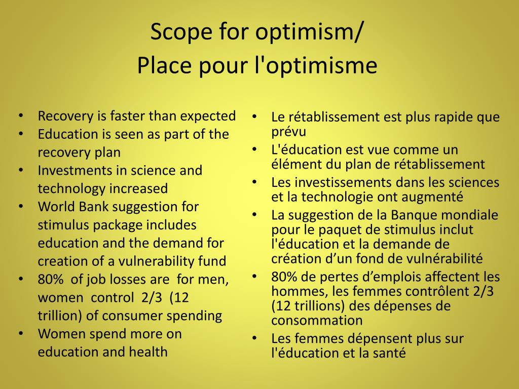 Scope for optimism/