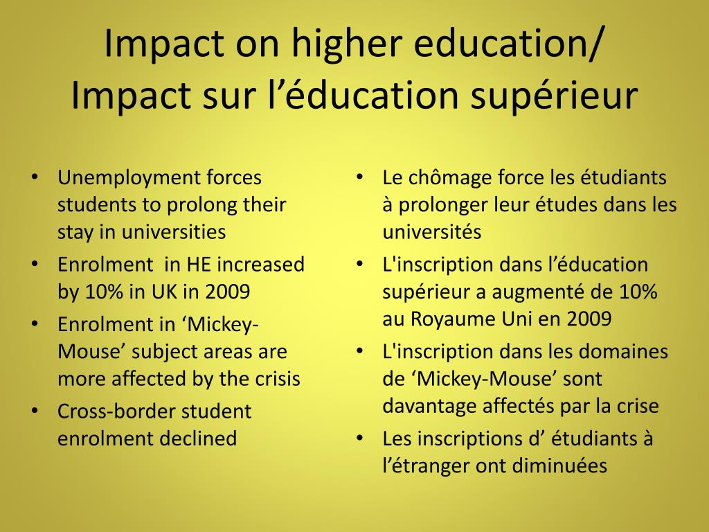 Impact on higher education/