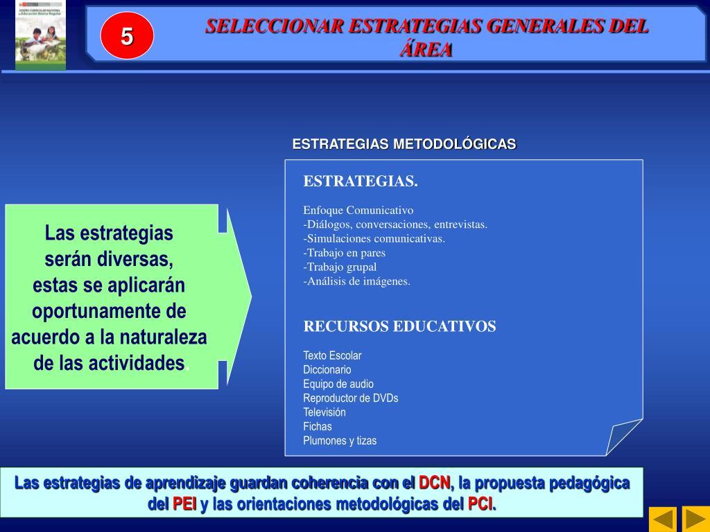 SELECCIONAR ESTRATEGIAS GENERALES DEL ÁREA