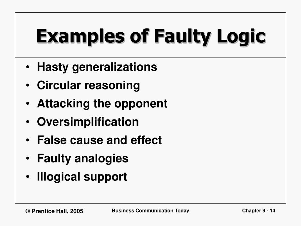 persuasive essays with faulty reasoning An persuasive technique by which a speaker or writer acknowledges the validity or credibility of an opponent's point faulty reasoning reasoning or arguments formed based on either untrue or misunderstood ideas.