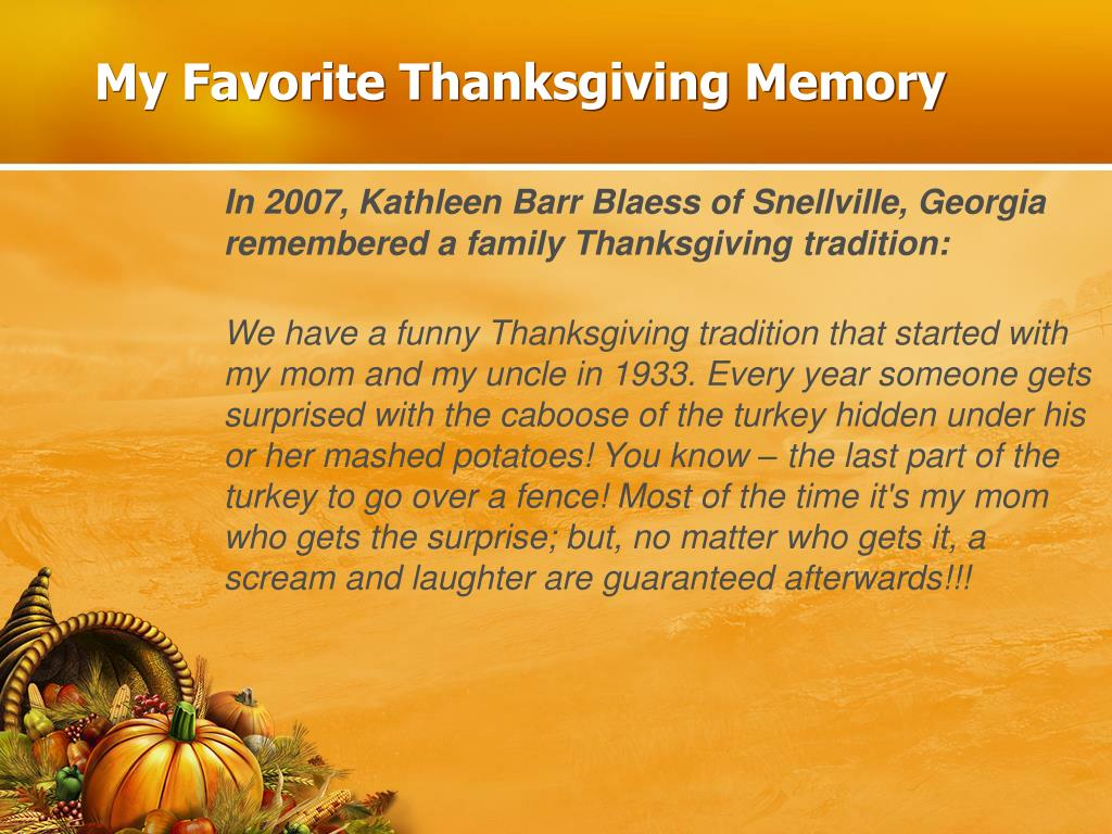 My Favorite Thanksgiving Memory