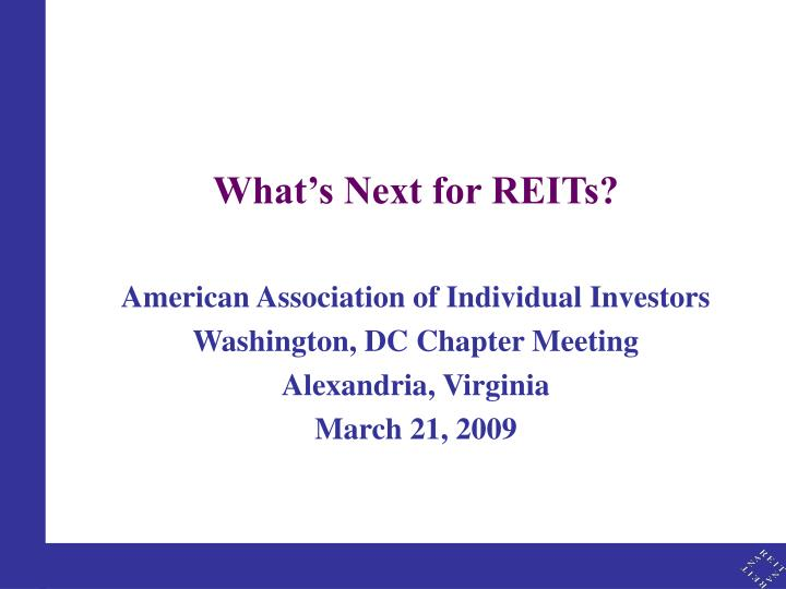 What's Next for REITs?