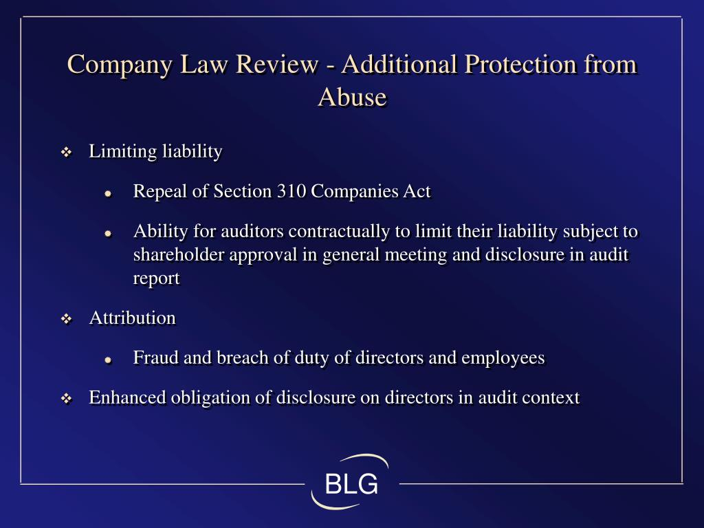 Company Law Review - Additional Protection from Abuse