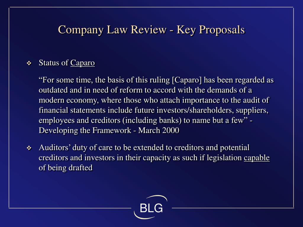 Company Law Review - Key Proposals