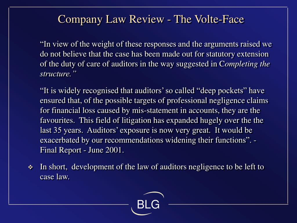 Company Law Review - The Volte-Face
