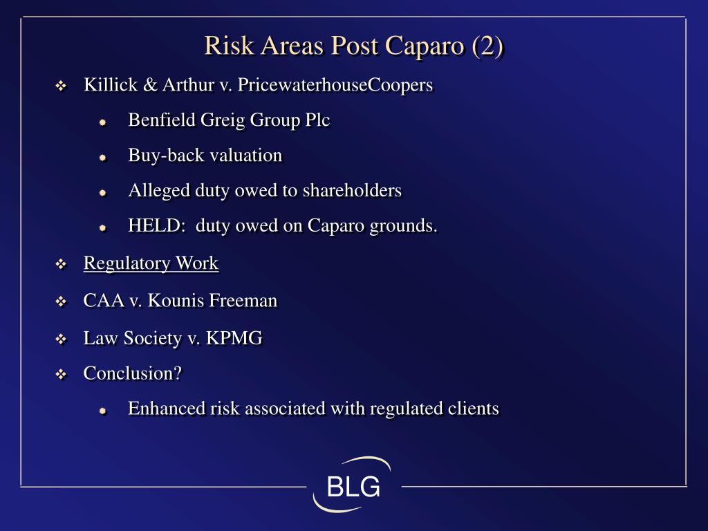 Risk Areas Post Caparo (2)