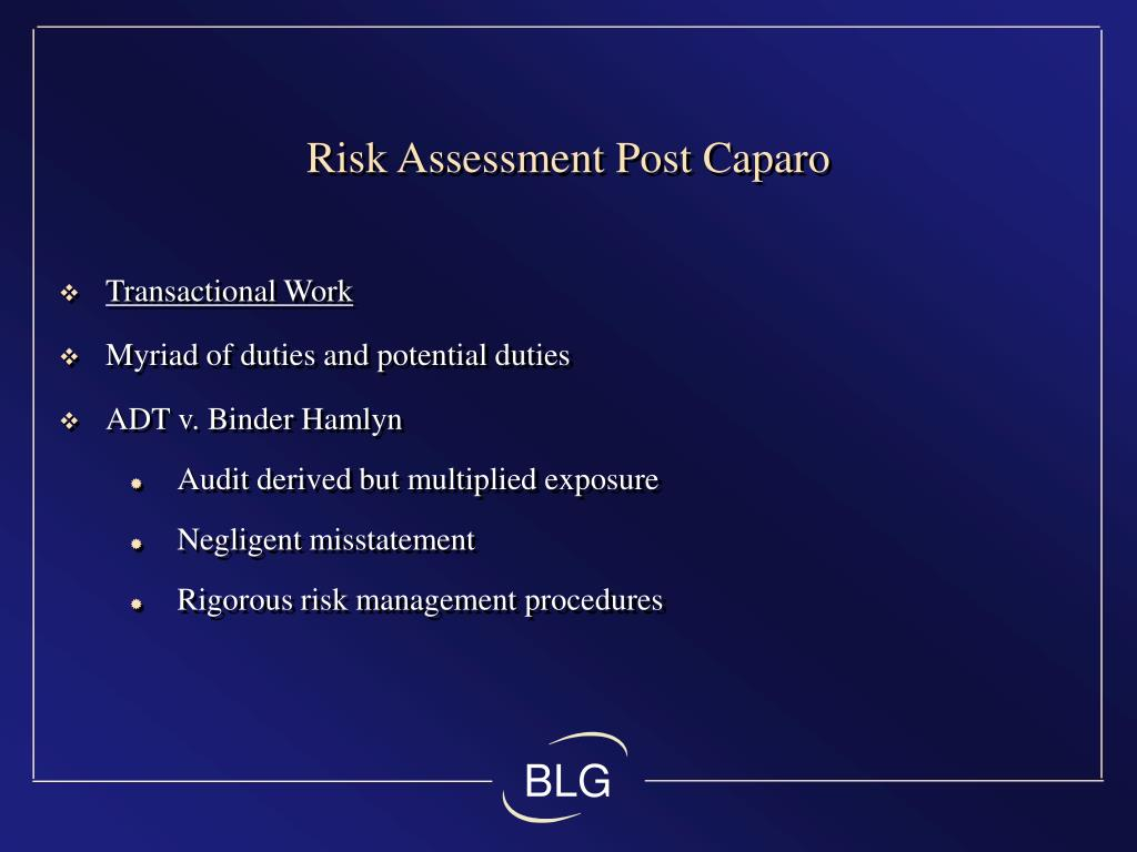 Risk Assessment Post Caparo