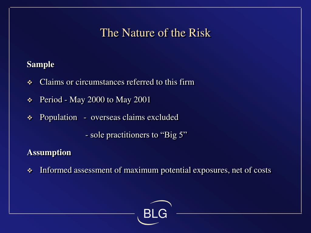 The Nature of the Risk