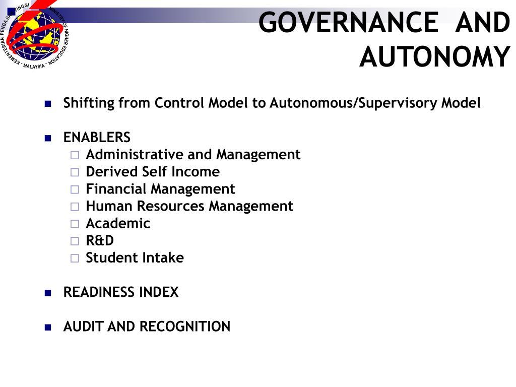 GOVERNANCE  AND AUTONOMY