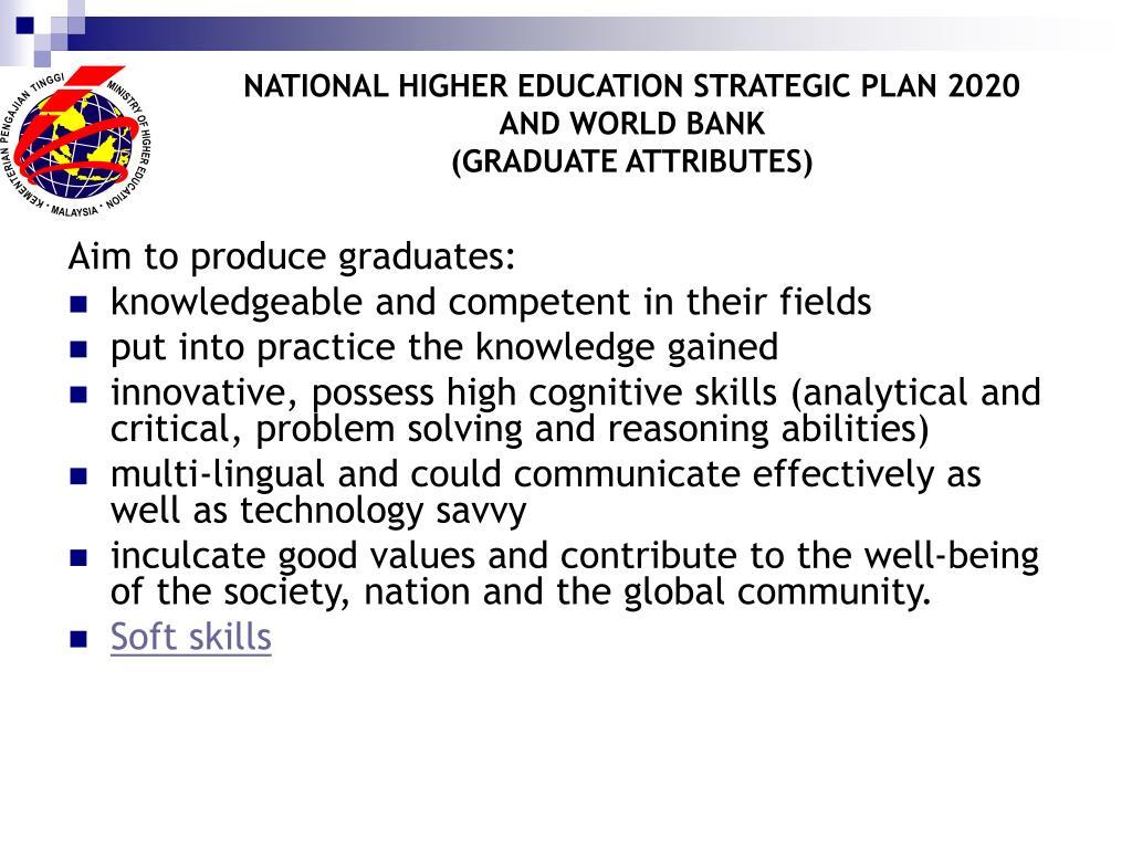 NATIONAL HIGHER EDUCATION STRATEGIC PLAN 2020