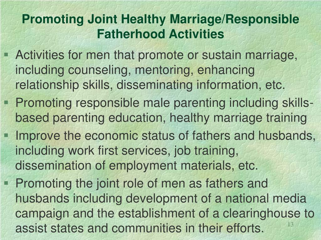 Promoting Joint Healthy Marriage/Responsible
