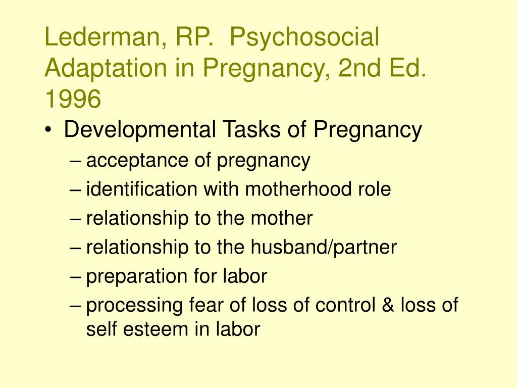 Lederman, RP.  Psychosocial Adaptation in Pregnancy, 2nd Ed. 1996