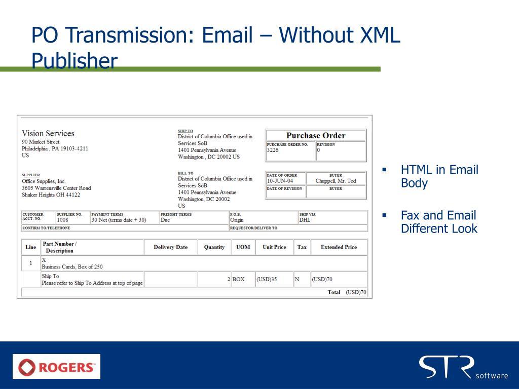 PO Transmission: Email – Without XML Publisher
