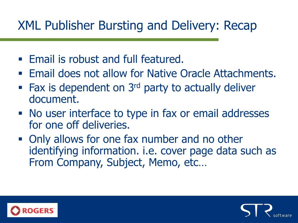XML Publisher Bursting and Delivery: Recap