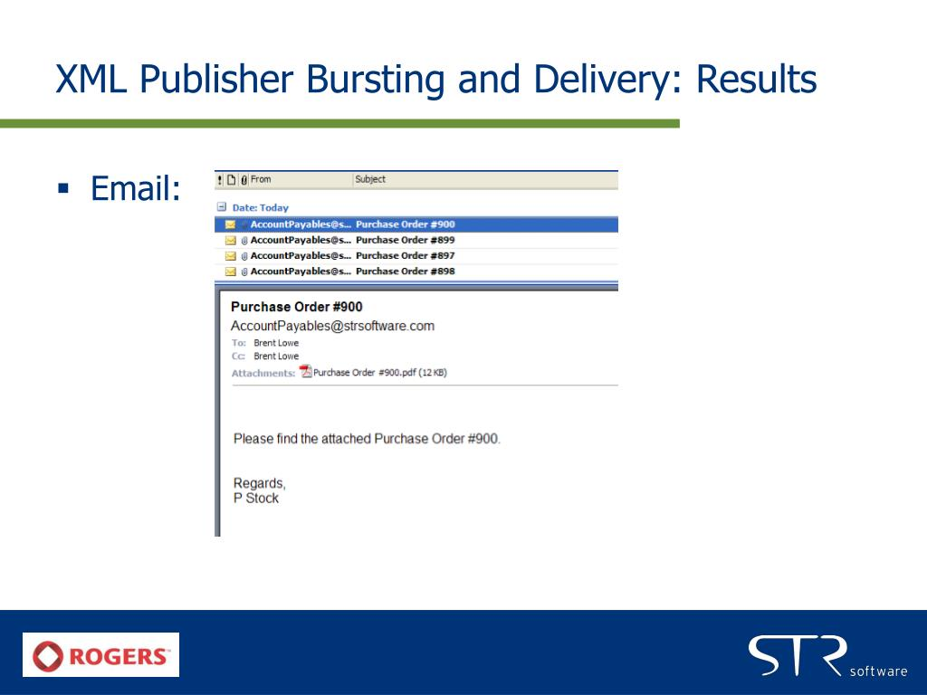 XML Publisher Bursting and Delivery: Results