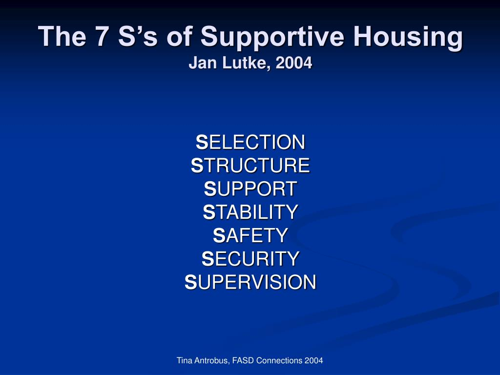 The 7 S's of Supportive Housing