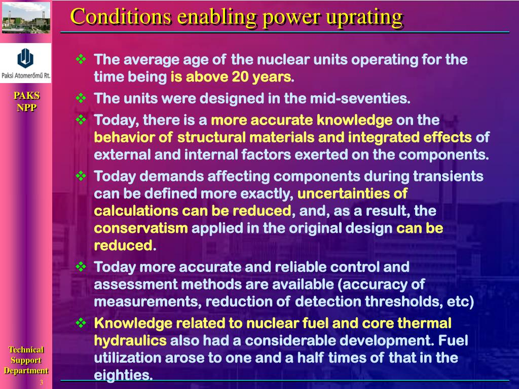 Conditions enabling power uprating