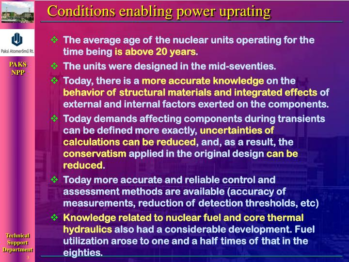 Conditions enabling power uprating l.jpg
