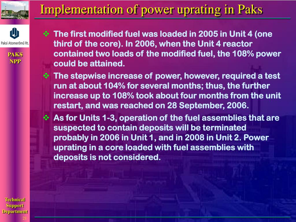 Implementation of power uprating