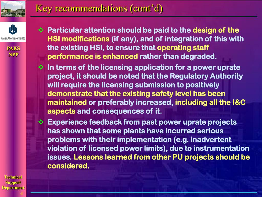 Key recommendations (cont'd)