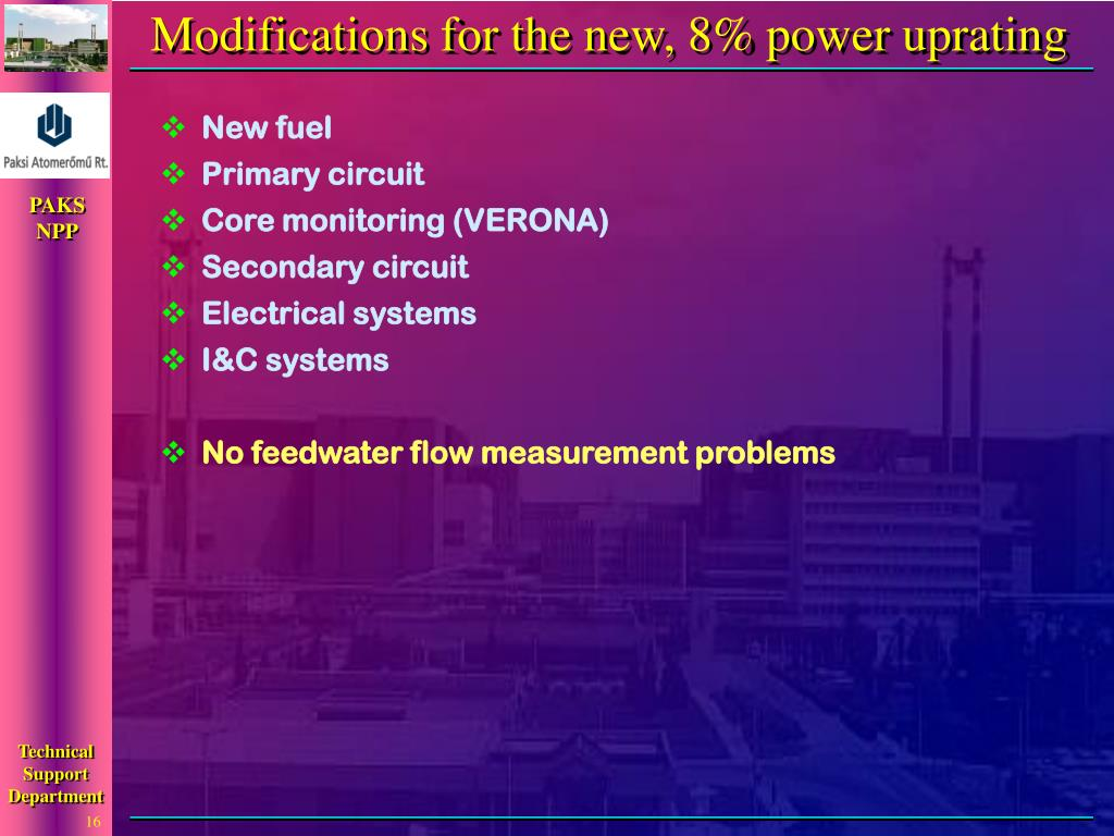 Modifications for the new, 8% power uprating