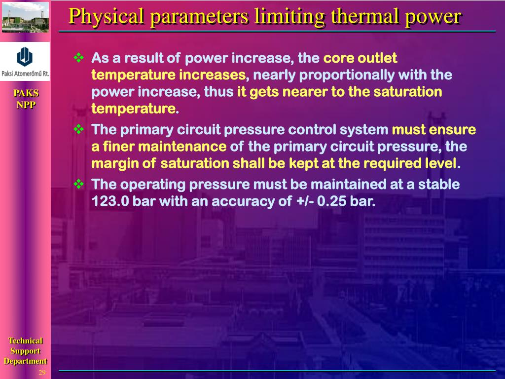 Physical parameters limiting thermal power