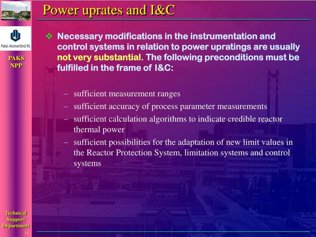 Power uprates and I&C