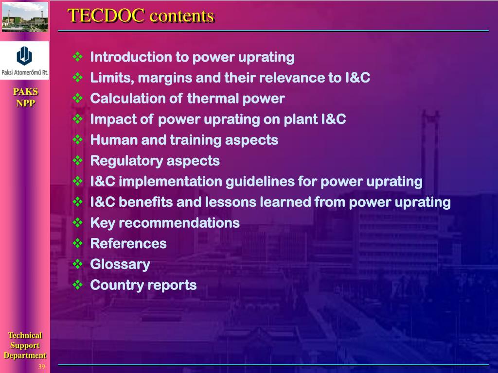 TECDOC contents