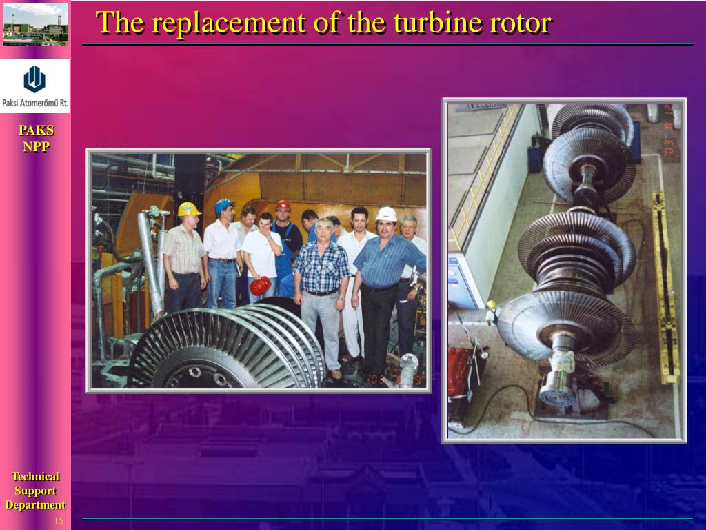 The replacement of the turbine rotor