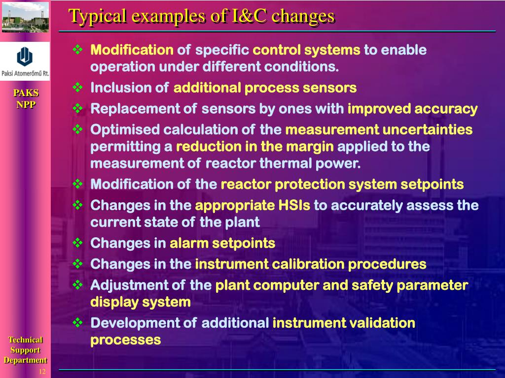Typical examples of I&C changes