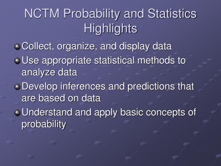 Nctm probability and statistics highlights