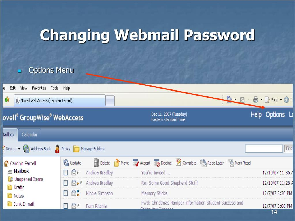 Changing Webmail Password