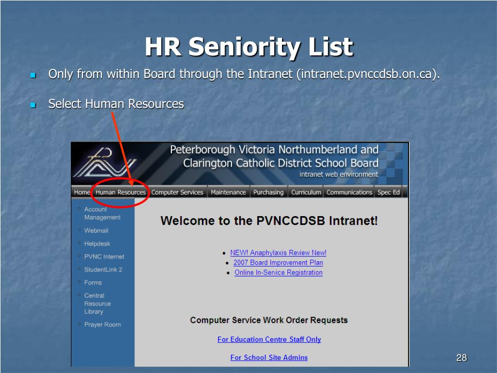 HR Seniority List