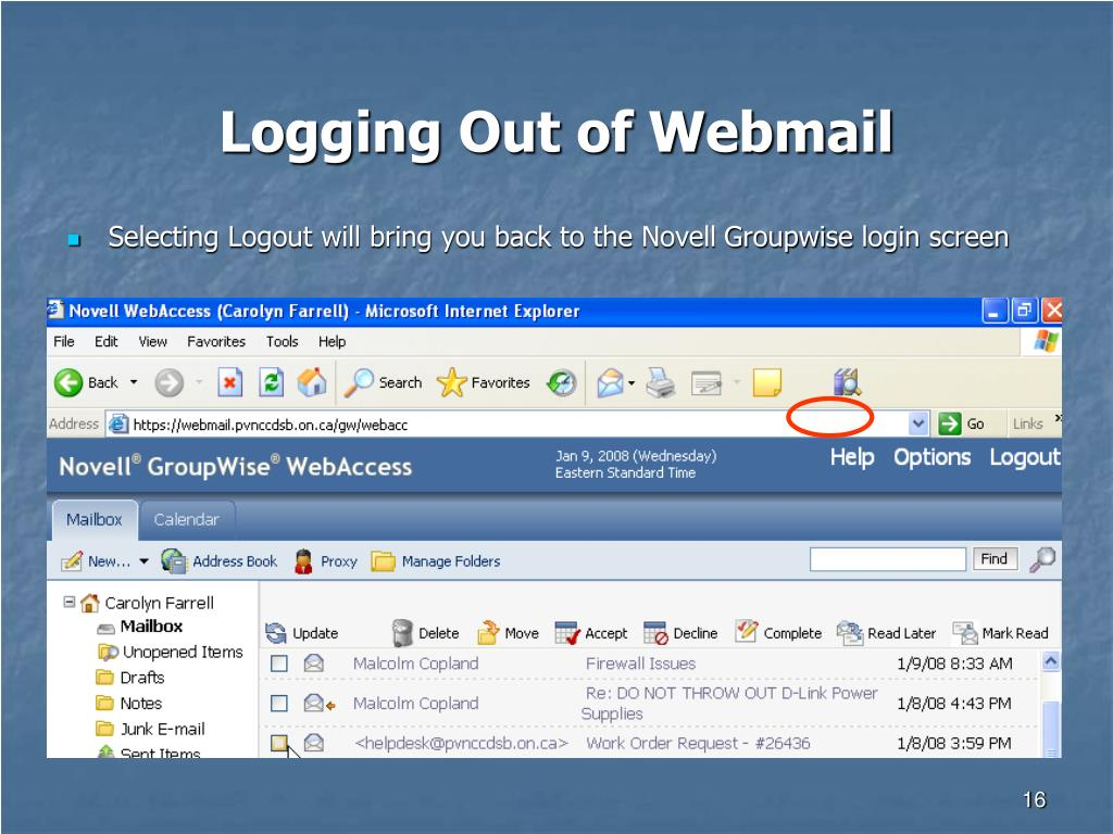 Logging Out of Webmail