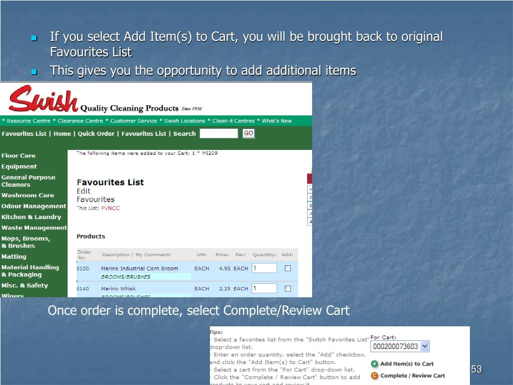 If you select Add Item(s) to Cart, you will be brought back to original