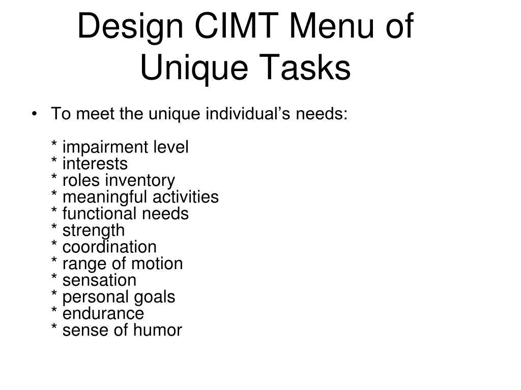 Design CIMT Menu of Unique Tasks