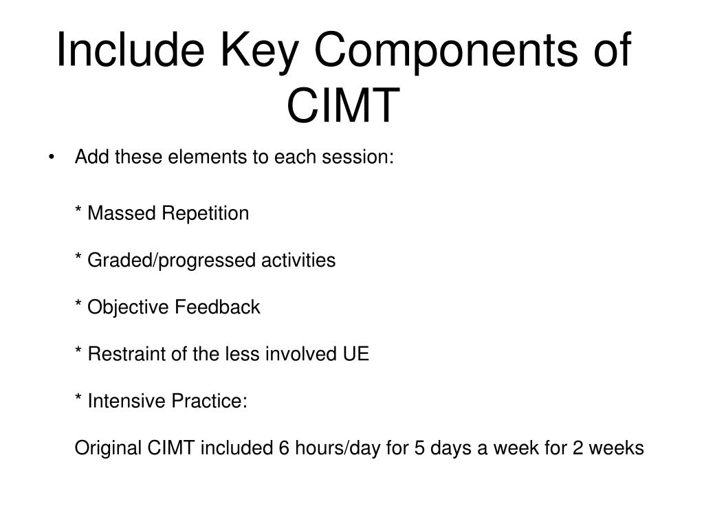 Include Key Components of CIMT