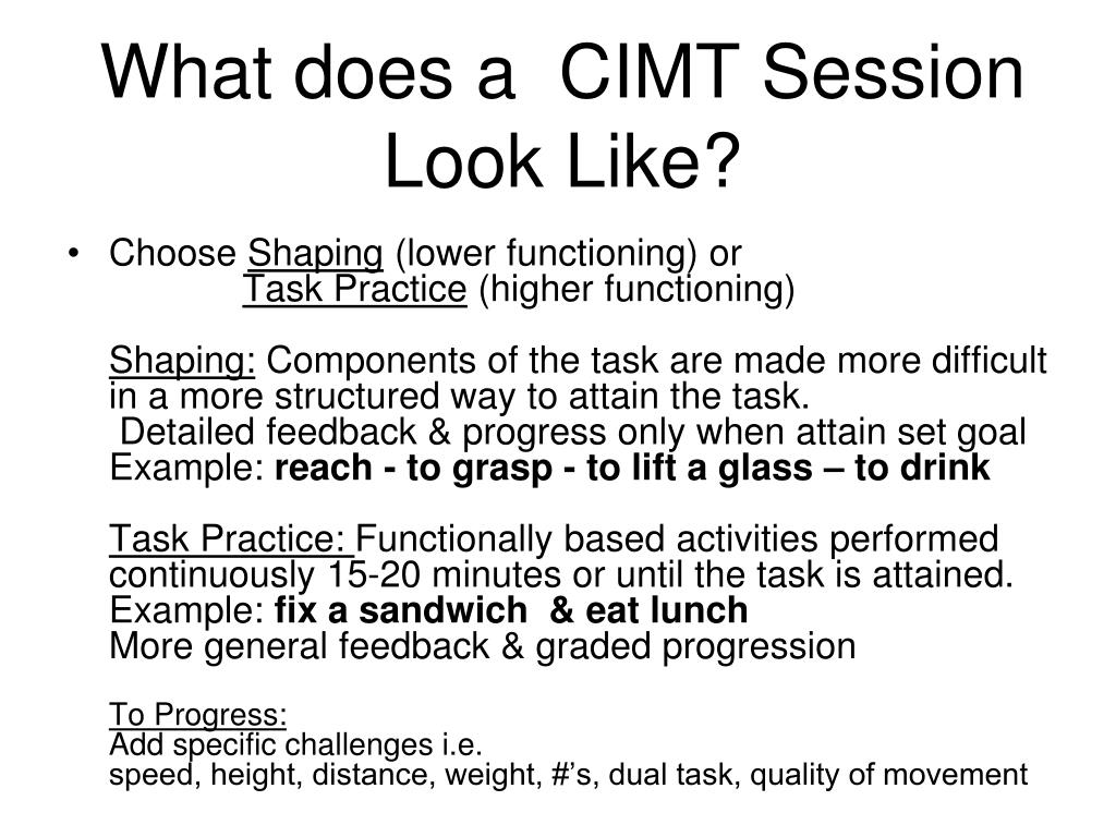 What does a  CIMT Session Look Like?