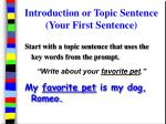 introduction or topic sentence your first sentence