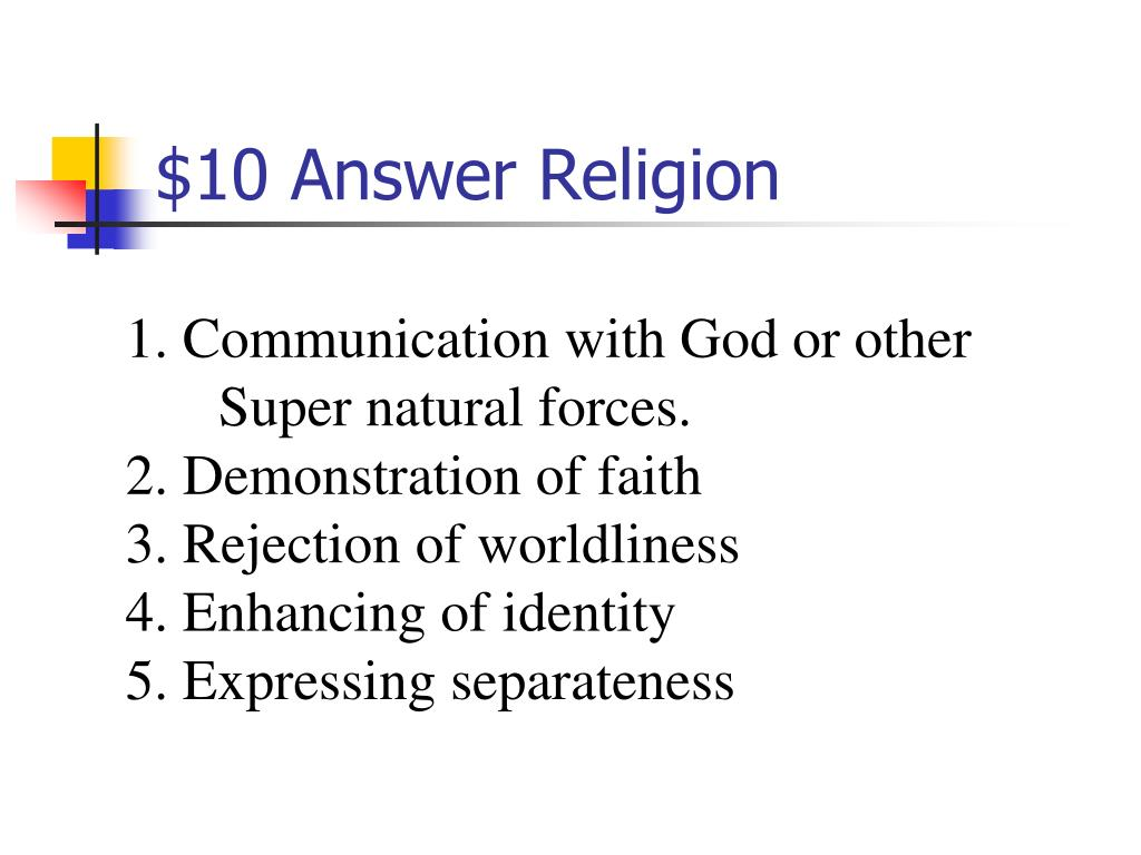 $10 Answer Religion