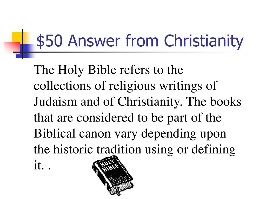 $50 Answer from Christianity