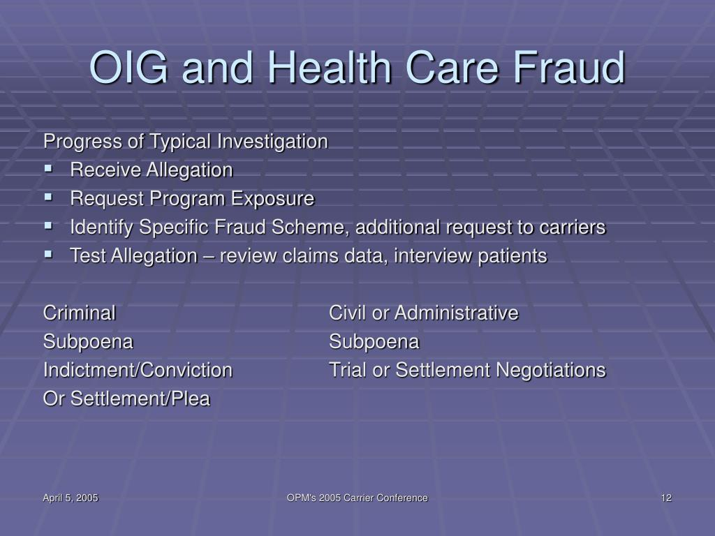 OIG and Health Care Fraud