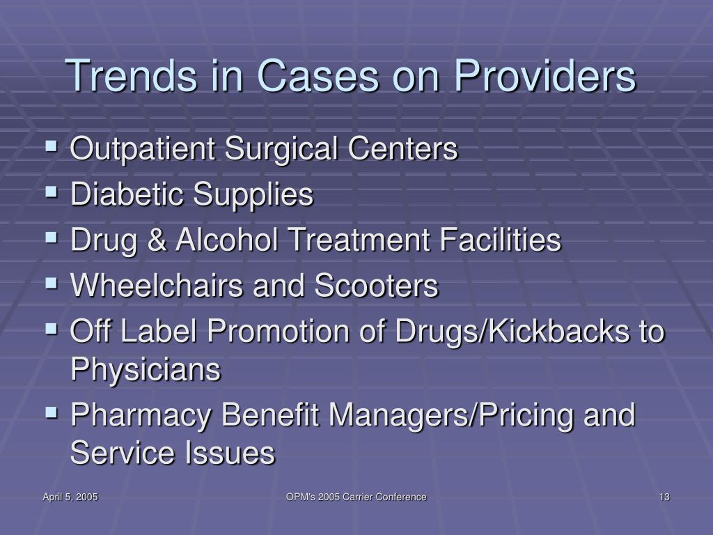 Trends in Cases on Providers
