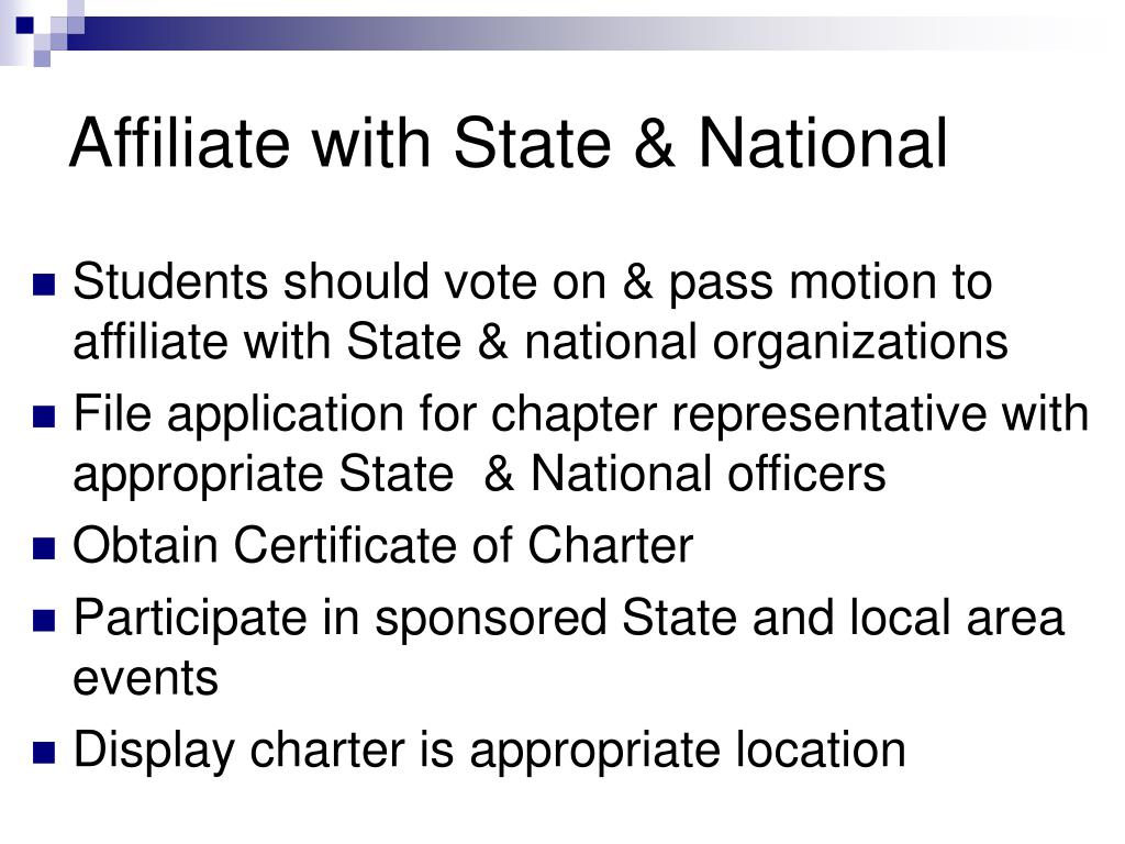 Affiliate with State & National