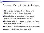 develop constitution by laws