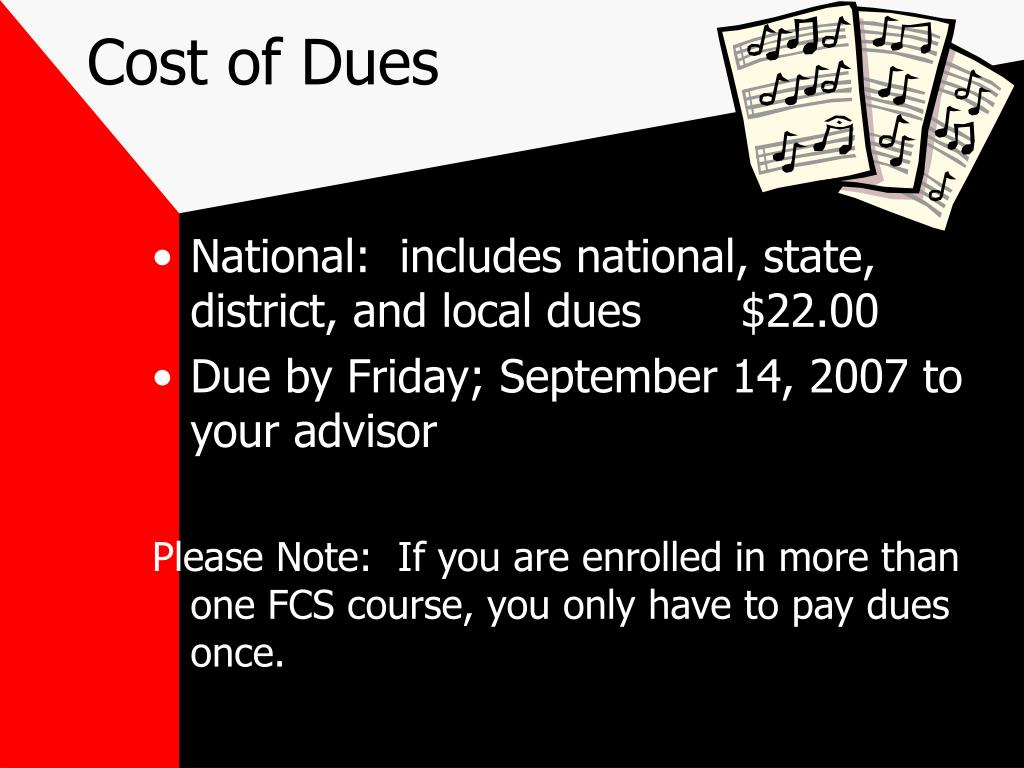 Cost of Dues